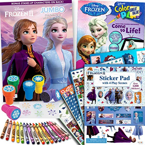 Disney Frozen and 2 Coloring Stickers Activity Books Set – Include with over 1200 4 Play Scenes 16 Crayola Crayons 6 Snowflake Stampers