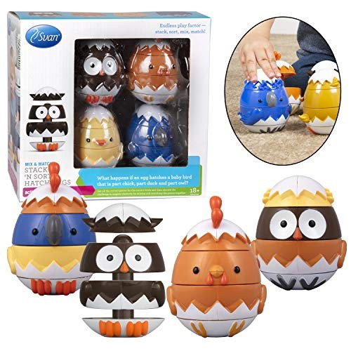 Stacking and Sorting Toys- Mix Match Educational Hatching Animals 4 Pack- Developmental Creative Nesting Eggs 18m+ Owl Duck Chicken Bluejay