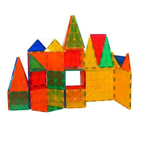 Mag-Genius Award Winning building Magnet Tiles Blocks Clear Colors 3D Brain Set Of 60 Piece