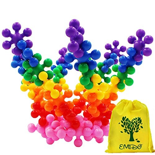EMIDO Building Blocks Kids Educational Toys STEM Discs Sets Interlocking Solid Plastic for Preschool Boys and Girls Safe Material – 120 Pieces with Storage Bag
