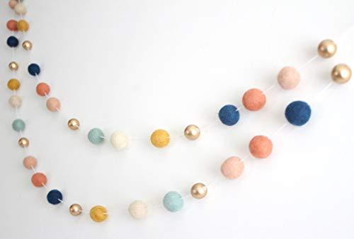 Arizona Gold Handmade Felt Ball Garland by Sheep Farm Felt- Navy Coral Peach Musard Cream Pom Wool and Wood Metallic 25 cm balls