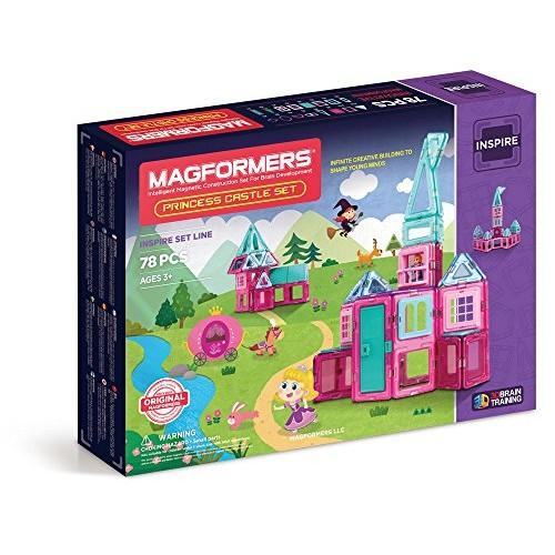 Magformers Princess Castle 78 Pieces Pink and Purple Colors Educational Magnetic Geometric Shapes Tiles Building STEM Toy Set Ages 3+