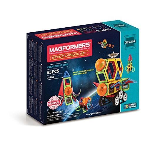 Magformers Space Episode 55 Pieces Rainbow Colors Educational Magnetic Geometric Shapes Tiles Building STEM Toy Set Ages 3+