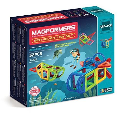 Magformers Adventure Sea Set 32 Piece Magnetic Building Blocks Educational Tiles Kit Construction STEM Toy animal ocean