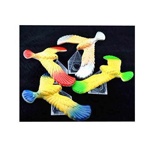 C&H Solutions 3 Pcs Cute Balancing Bird with Clear Triangle Stand Colors May Vary