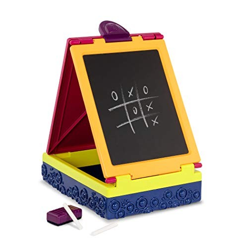 B Toys Table Top Easel for Kids Take It Double Sided Chalkboard & Whiteboard Portable Foldable Storage Chalk Markers Eraser