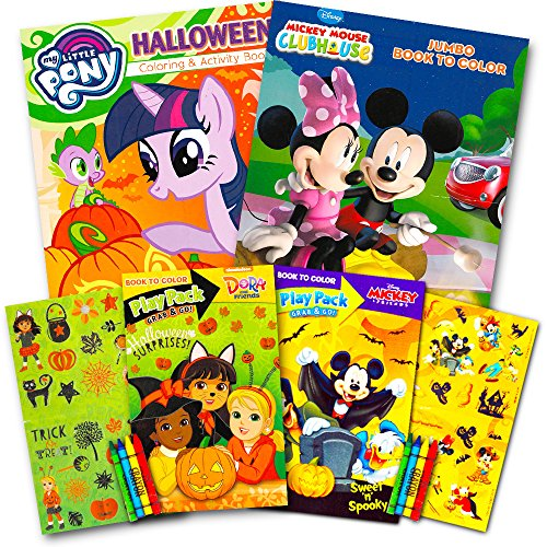 - Disney Halloween Coloring Book Super Set For Kids Toddlers -- 3 Books  Featuring Minnie Mouse Mickey My Little Pony And More Includes Crayons  Stickers - Educational Toys Planet