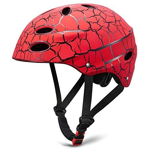 Kid's Skateboarding HelmetAdjust Size Multi-Impact ABS Shell for Children Cycling/Skateboarding/Skate Inline Skating/Rollerblading(Red)