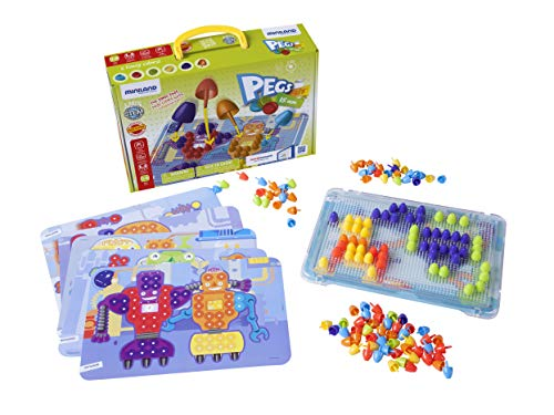 Miniland Educational – Pegs 5 8 Color Pegboard Set 150 Pieces Board Game for Kids