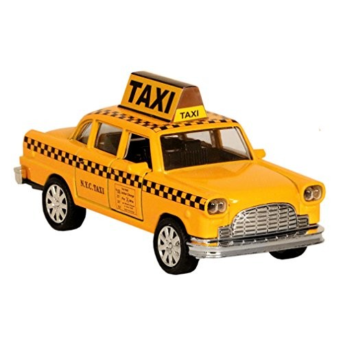 NYC Taxi in Yellow Cab with Pullback Action Die Cast New York City Taxi