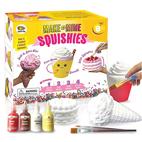 Arts and Crafts for Girls DIY Dessert Paint Your Own Squishies Kit Gifts Craft Lovers Ages 4 Top Christmas Toys Box Includes Large Slow Rise Fabric Colors