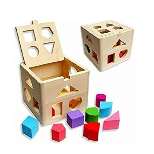 UEETEK Kids Educational Toys Wooden Building Block Toddler Baby Soft Blocks for Boys Girls