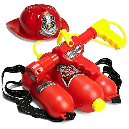 Prextex Fireman Backpack Water Shooter and Blaster with Fire Hat- Water Gun Beach Toy