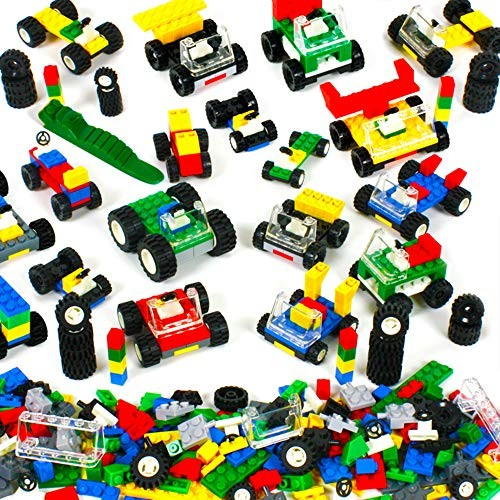 Brickyard Building Blocks Wheels Tires and Axles – 459 Pieces Bricks Compatible Set Includes Steering Windshields Colorful Brick Chassis 459 pcs