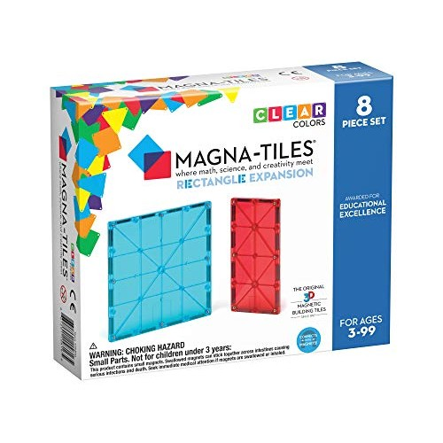 Magna Tiles 8Piece Rectangles Expansion Set The Original Award-Winning Magnetic Building Creativity & Educational Stem Approved