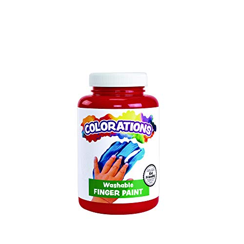 Colorations Washable Finger Paints Red Non-Toxic Creamy Vibrant Kids Paint Craft Hobby Fun Art Supplies Young Painting Hand 16 oz