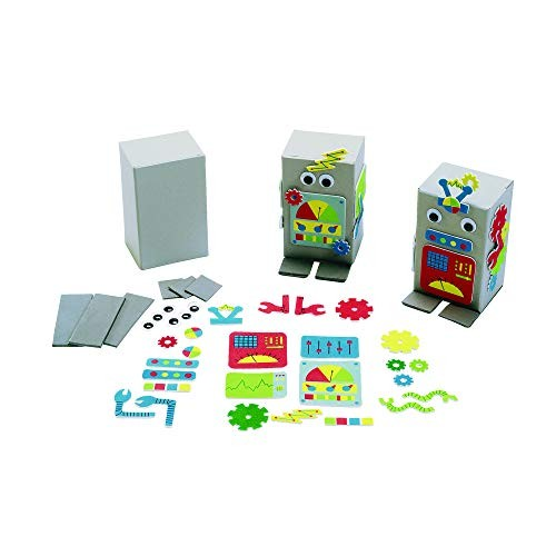 Colorations DIY Robot Foam Craft Kit for Kids Set of 12 EVA Paper Mache Self-Adhesive No-Glue STEM STEAM Science Robotics Early Learning Teacher