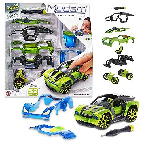 Modarri Delux S2 Muscle Car Build Your Kit Toy Set – Ultimate Car Make Own For Thousands of Designs Real Steering and Suspension Educational Take Apart Vehicle