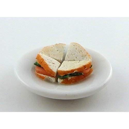 Melody Jane Dollhouse Salmon & Cucumber Sandwich on a Plate Miniature Handmade Food 1/12
