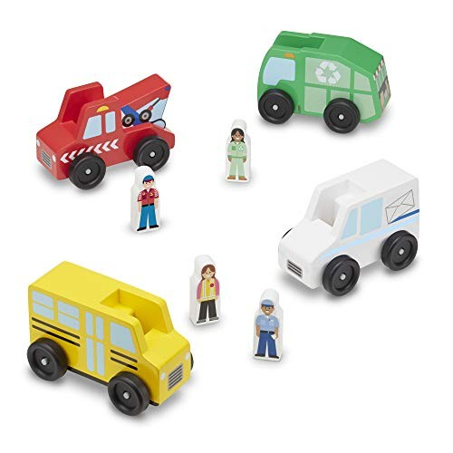 Melissa & Doug Community Vehicles Play Set – Classic Wooden Toy With 4 and Figures