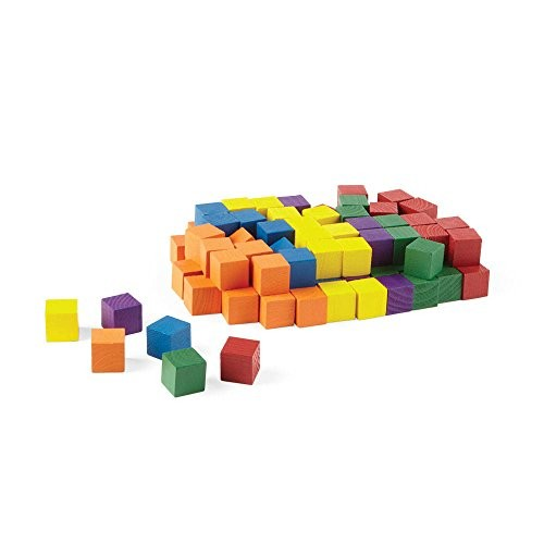 hand2mind Wooden Block Set 1 Inch Building Blocks Rainbow Colored Stackable Educational Toy for Learning Patterns & Early Math Skills Pack of 100 Model 9505x