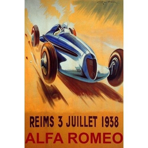 WONDERFULITEMS Reims 1938 France CAR Race ALFA Romeo Speed Racing 20 X 30 Image