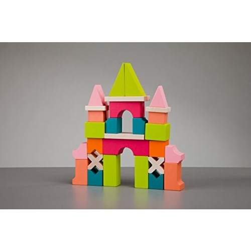 CUBIKA Building Blocks Organic Wood Colorful astle Wooden Handmade Toy 28 Pieces