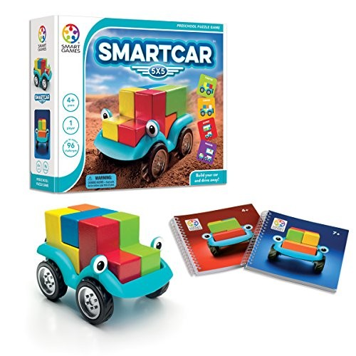 SmartGames Smart Car 5 x Wooden Cognitive Skill-Building Puzzle Game Featuring 96 Playful Challenges for Ages 4+