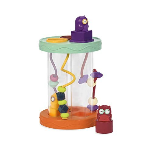 B Toys Shape Sorter Hooty-Hoo 3 Owls Colorful Shapes Bead Maze & Wacky Sounds Fun Game Educational Toy for Toddlers Babies