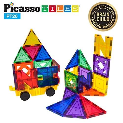 PicassoTiles PT26 Inspirational Set Magnet Building Tiles Clear Color Magnetic 3D Block – Creativity Beyond Imagination Educational Conventional Recreational
