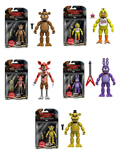 Five Nights at Freddy's 5 Freddy Chica Foxy Bonnie Gold Action Figures Set of