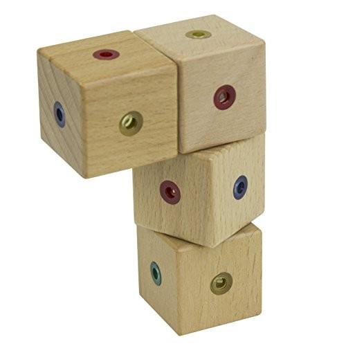 WIDU Magnetic Wooden Building Blocks 4 Cube Pack