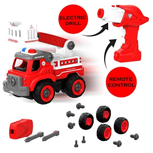 Edushape Kids Remote Control Take Apart Fire Truck Squad with 33 Toy Parts – Includes Lights Sound & Drill for Build It Yourself Fun STEM Learning Great Motor Skills