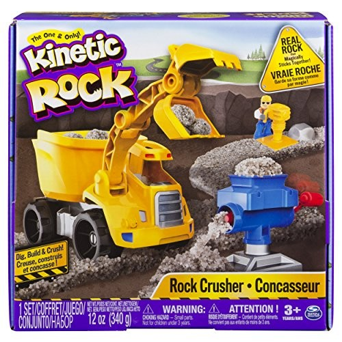 Kinetic Rock – Crusher Toy Kit with Construction Tools for Ages 3 and Up
