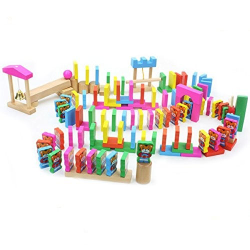 New Sky Enterprises 120pcs DIY Cartoon Domino Blocks with Endless Combinations for Ages 3-10 Children Games Wooden Building Toy