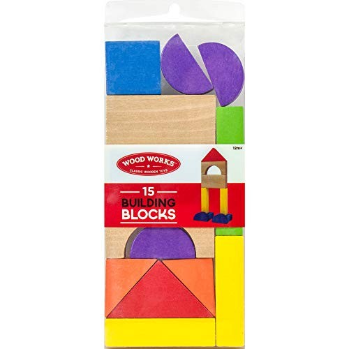 Wood Works Classic Wooden Toys Building Blocks – 15 Count