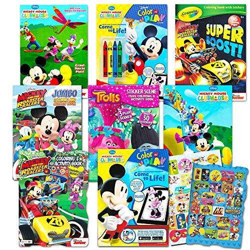 - Disney Coloring Books For Kids Toddlers Bulk Set -- 8 And Sticker Pack Mickey  Mouse Minnie More - Educational Toys Planet