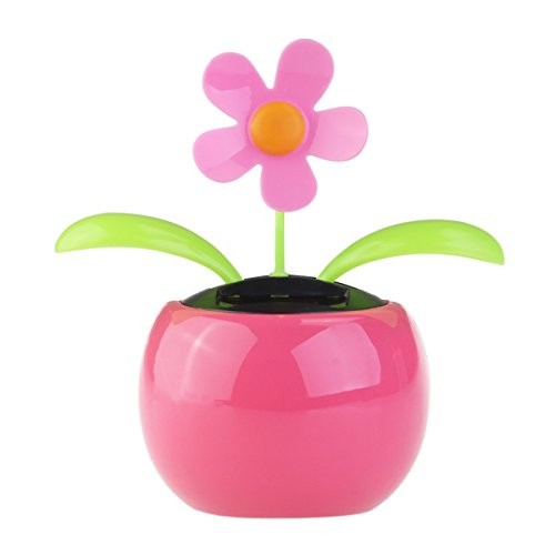 Tinksky Dacing Solar Flower Car Decor Powered Happy Dancing in the Pot Office Desk Display Pink