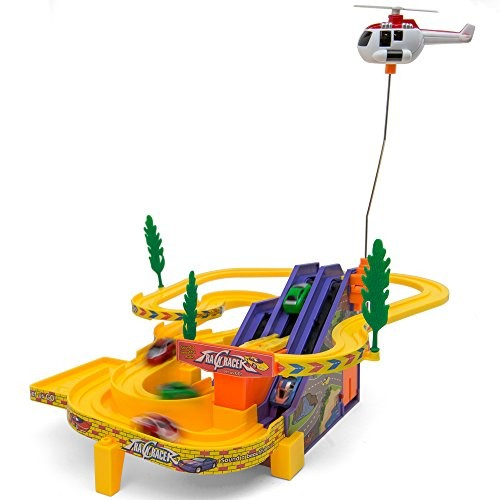 Kids Multi Level Race Track with Cars Rolling Conveyor and 'Flying' Spinning Helicopter Toy