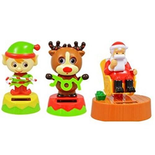 Solar Dancing Reindeer and Elf Swinging Santa – 3 Pack