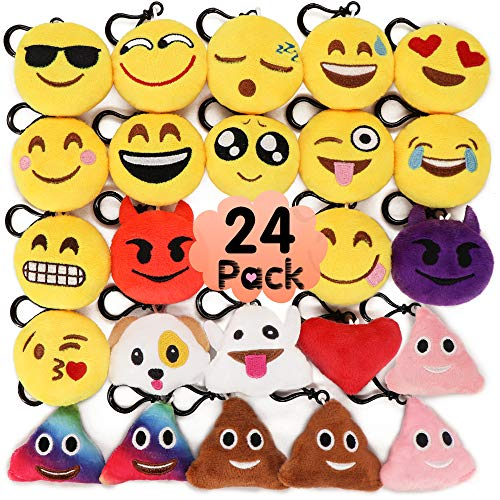 Set of 12 Cute Emoji Cushion Soft Stuffed Plush Toy Key Chain for