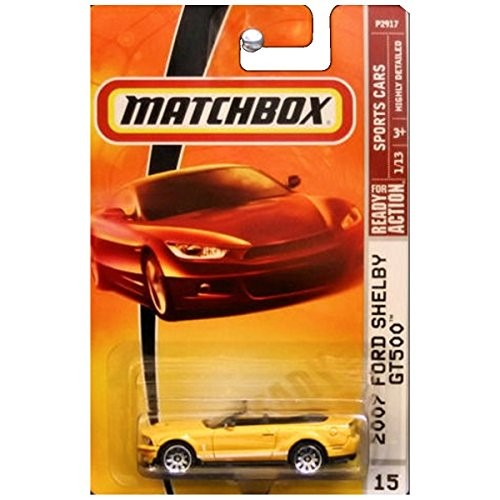 Matchbox Sports Cars 2007 Ford Mustang Shelby GT500 GT-500 Convertible Grabber Orange Yellow #15