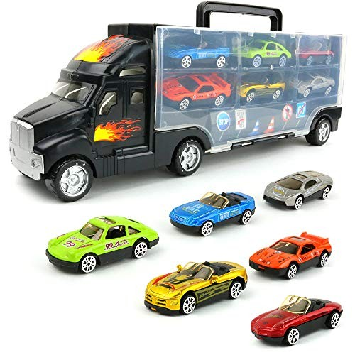 Big Mo's Toys Transport Car Carrier Truck – with 6 Stylish Metal Racing Cars