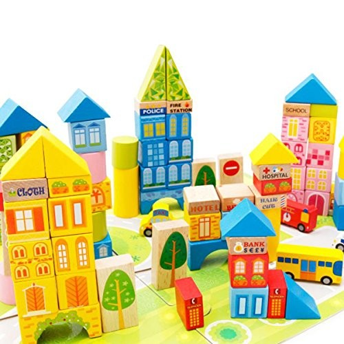 New Sky Enterprises 100pcs DIY City Wooden Building Blocks Stacking Set Toys for Kids