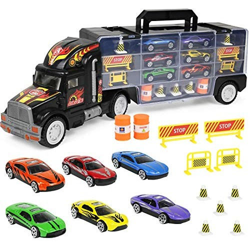 Click N' Play Transport Car Carrier Truck Loaded with Cars Road Signs & More