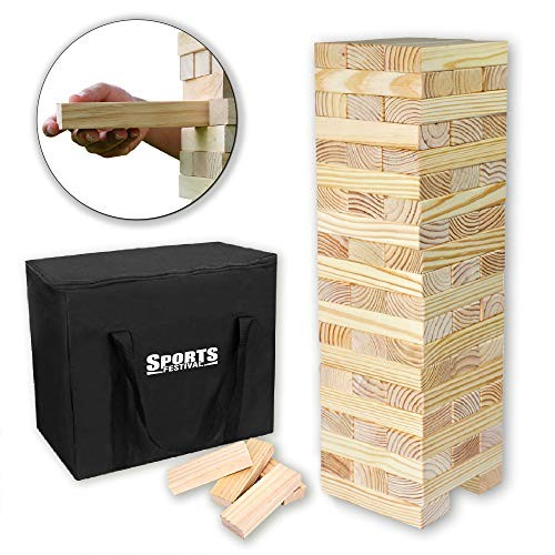 Sports Festival Giant Wooden Tumbling Timbers with Storage Bag Hardwood Block Stacking Game for Yard Games