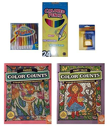 MindWare Color Counts Fairies Fairy Tales Books Crayons Colored Pencils 5-pc Bundle