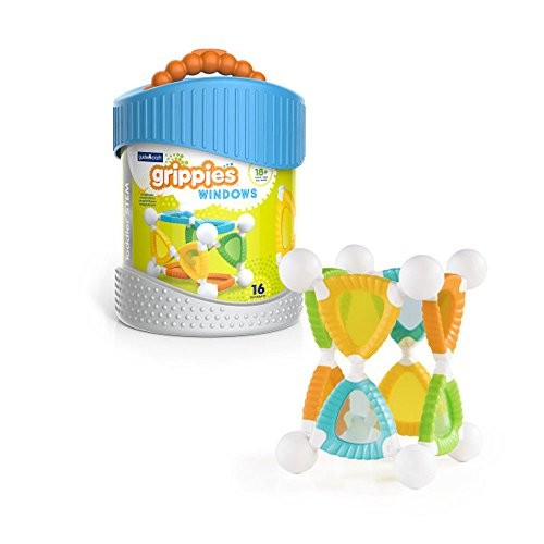Guidecraft Grippies Windows – 16 Piece Set Stem Soft Grip Magnetic Building Toy for Toddlers