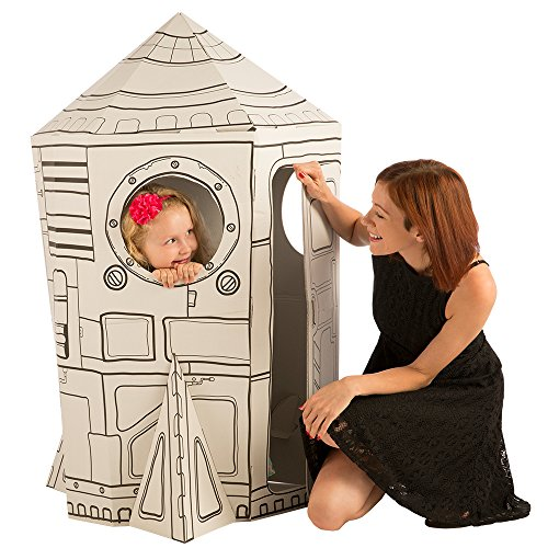 Cardboard Playhouse for Kids to Color – Create an Easy Rocket Ship with Included Markers and Over 40 Glow-in-The-Dark Stickers