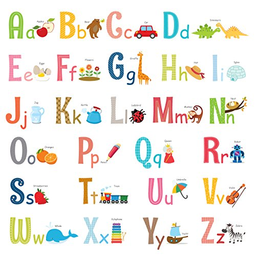 DECOWALL DA-1701 Uppercase Alphabet ABC with Pictures Kids Wall Decals Stickers Peel and Stick Removable for Nursery Bedroom Living Room Large